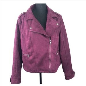NWOT Simply Emma moto faux suede jacket- size 1X